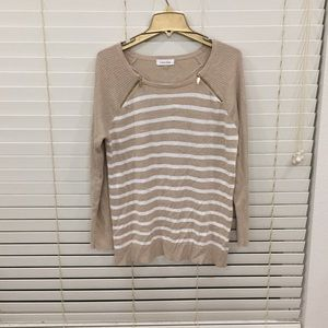 Comfortable and stylish beige and white stripes LS